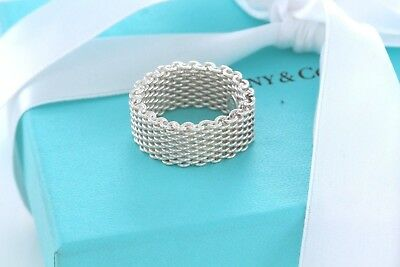 Tiffany & Co Somerset Sterling Silver Mesh Love Ring Size 6.5 +Box & Pouch Weave
