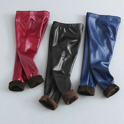 Kids Girl Winter Warm Thermal Leather Thick Fleece Lined Trousers Leggings Pant