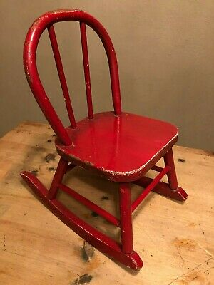 Brilliant Vintage Wooden Child Size Rocking Chair Sturdy Wood Wooden Creativecarmelina Interior Chair Design Creativecarmelinacom