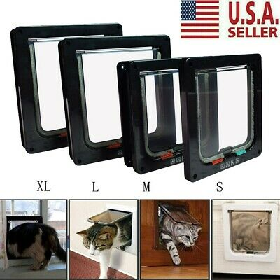 Cat Flap Door Magnetic Pet Door with 4 Way Lock Security For Cats Small Doggie