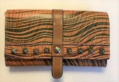 Patricia Nash Cametti Burnished Tooled Gold Trifold Wallet Brown Leather NWT $99