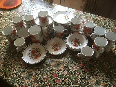 J&G Meakin 59 Piece Poppy Collection Pottery