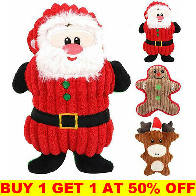 Dog Christmas Chew Toys Aggressive Indestructible Stuffed Squeaky Sound Squeaker