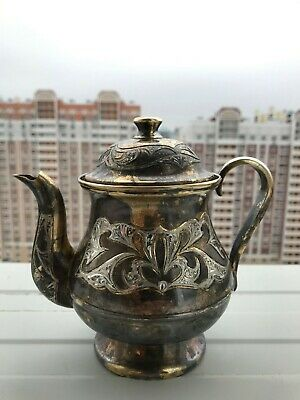 Russian Imperial Silver 875 Silver Tea/Coffee Pot! Antique sterling silver 343 g