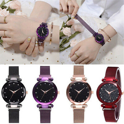 Women Fashion Starry Sky Watch Magnetic Strap Buckle Stainless WristWatch GiftQV