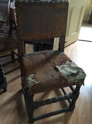 English Oak Upholstered Chair Puritan Period/Cromwellian/Country Design...