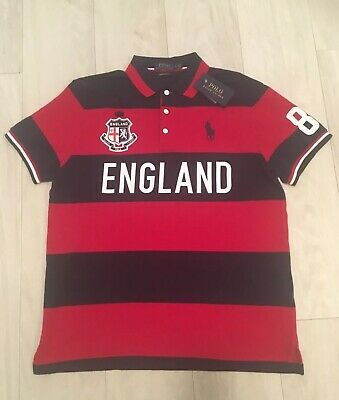 Polo Ralph Lauren England Custom Slim Fit Striped Polo Shirt Men Size Large BNWT