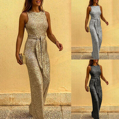 Womens Sequin Sleeveless Jumpsuit Ladies Backless Wide Leg Party Long Playsuit