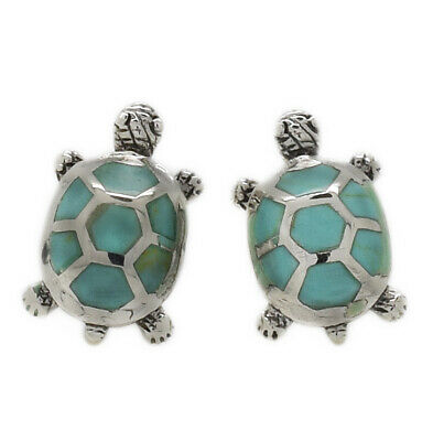 Genuine Sterling Silver Turtle Stud Earrings with Abalone Stone (SE0384)