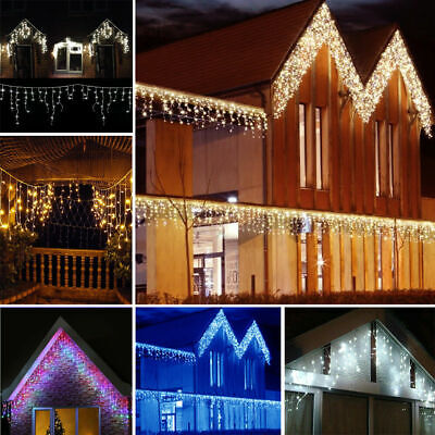 LED Icicle Snowing Curtain Fairy Lights Indoor Outdoor Christmas Xmas Party Deco