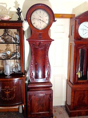 19th Century Figured Mahogany Scottish Drumhead Longcase Grandfather Clock