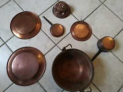 Set, Lot, 7 Pots Copper Tinned, Beginning 900, to Hang