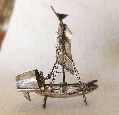 Antique Miniature Signed Asian Sterling Silver Junk Boat Wire Ropes Rudder Sails