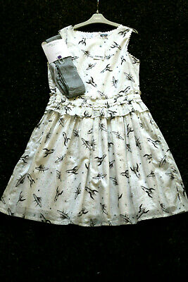 NEXT Girls Off White Space Print Dress  & Silver Tights Age 14 Yrs BNWT Tag £28