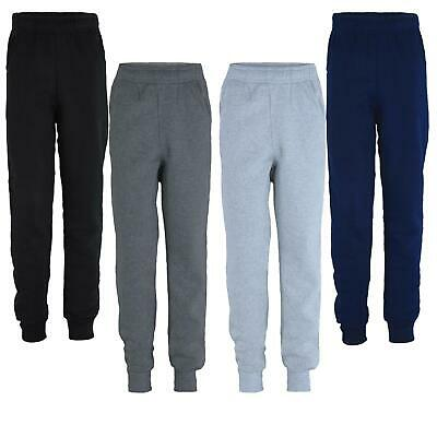 Kids Plain Trousers Girls Basic Bottoms Boys Joggers Inner Fleece Trousers 5-14Y