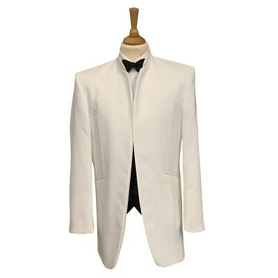 Mens White Nehru Grandad Collar Jacket Evening / Cruise / Ball / Party