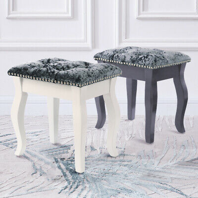 Crushed Velvet Padded Dressing Table Chair Studded Vanity Piano Seat Bedroom
