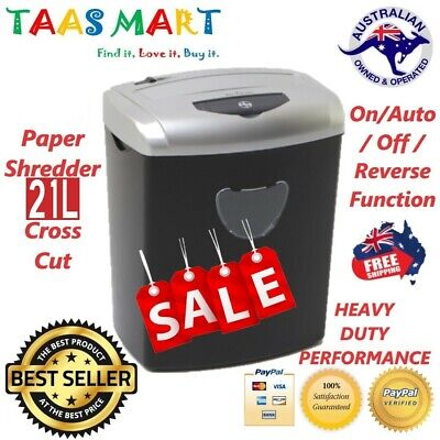 Electric Home Gift Office 21L Cross Cut Shredder 10 A4 Paper Sheet / Credit Card