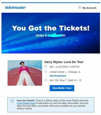 HARRY STYLES CHICAGO TWO Tickets Sec 106, Row 7 Seat 14 & 15 PAIR UNITED CENTER