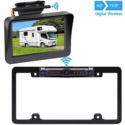 Wireless License Plate Backup Camera Rear View Mirror Monitor