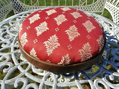 Antique Round Oak Upholstered Footstool Circa 1930's Rust & Cream