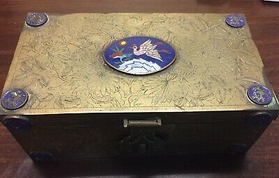 "Antique 19th c. Qing Dynasty Chinese Cloisonne Box  Brass Wood Lined 8.5"" X 4.5"""