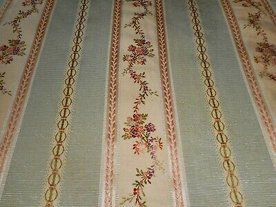 Vintage French Silk Lisere Floral Stripe Jacquard Brocade Fabric ~Green Apricot