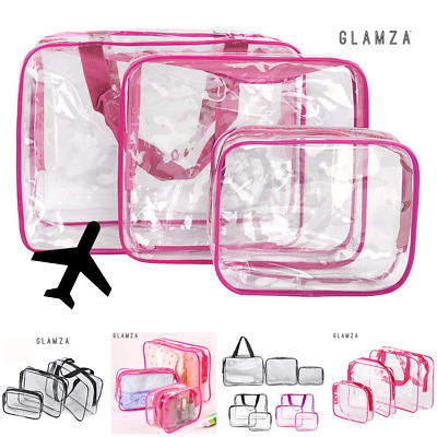 TRAVEL TOILETRIES BAG | x3 Transparent Toiletry Wash Bags for Travel Airport