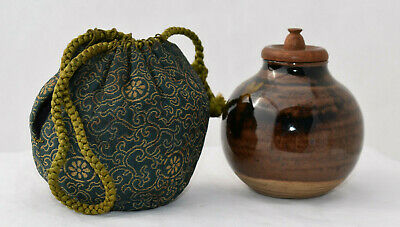 Old Takatori Ware Tea Caddy Bunri Jar Ceremony Chaire Sado Handmade Vtg Japanese