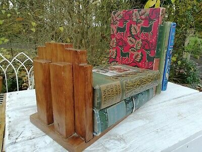 Antique 1920's/30's Art Deco Geometric Wooden Book Shelf Stand Free Standing
