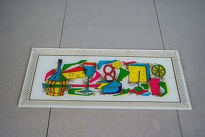 Mid-Century bent glass hors d'oeuvres tray/platter bright 50s 60s party