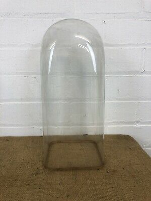 Antique Glass Dome Squared Base For Mantel Clock or Taxidermy - 2 Available