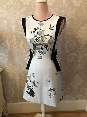 £170 Ted Baker Sipnela Mint Green Navy Blue Floral Bow Spring Meadow Dress 0 6 8