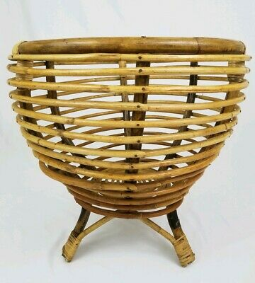 Mid-Century Bamboo Rattan Planter Plant Stand Table Frankl Albini Style Boho