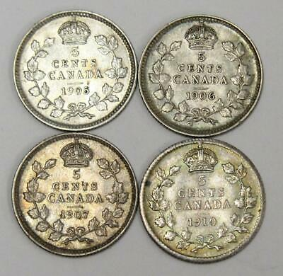 1905 1906 1907 and 1910 Canada 5 cents 4-coins EF40 or better