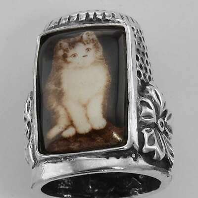 MEWOW! Porcelain & Sterling Silver Cat Kitty Kitten Embossed Sewing Thimble NWOT