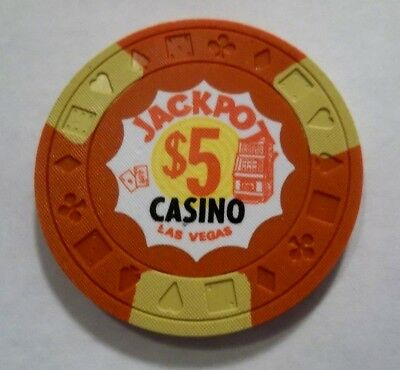 Jackpot Casino 5 Dollar Las Vegas Nv Poker Chip Obsolete Nevada Genuine