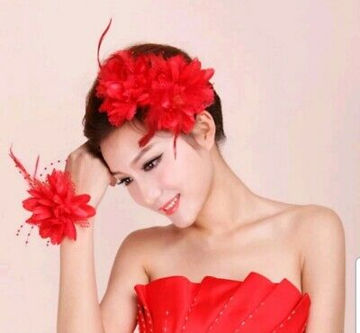 Pink Large Flower hairband Feather Beaded Corsage Hair Clips Fascinator Bridal