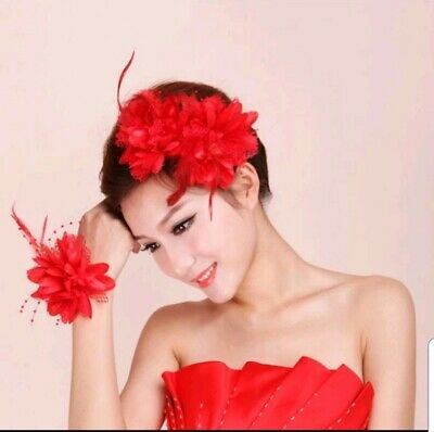 Red Large Flower hairband Feather Beaded Corsage Hair Clips Fascinator Bridal