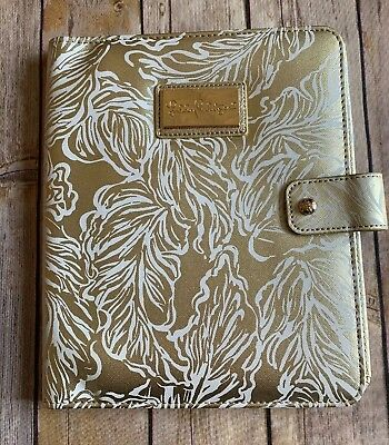 Lilly Pulitzer Agenda Folio Gold White Leaf Leatherette