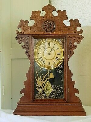 Gingerbread Mantle Clock, USA Welch, Antique Timber Clock.