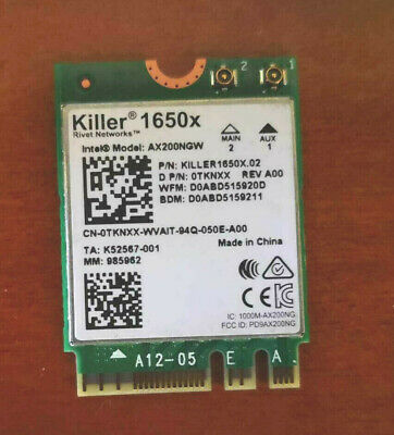 Killer Wi-Fi 6 AX1650 Dual-Band M.2 Network Adapter with Bluetooth