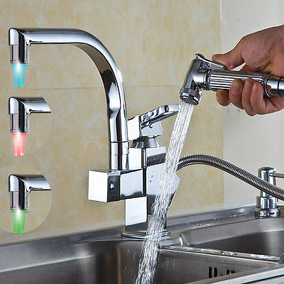 LED 360 ° Swivel Pull Out Spray Basin Sink Kitchen Faucet Mixer Tap Chrome