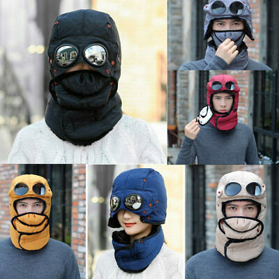 Men Women Winter Thermal Trapper Hat With Glasses Full Face Mask Windproof Cap