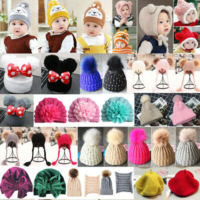 Baby Girl Boy Knitted Bobble Hat Beanie Pom Winter Warm Crochet Stretchy Hat Lot