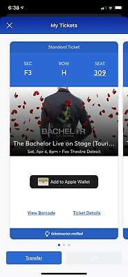 2 Bachelor Live On Stage Tickets F3 row H AND Parking Pass! Detroit MI April 4