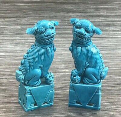 """Vintage Pair of 6.25"""" Turquoise Blue Chinese Foo Dogs Figurine Statues"""