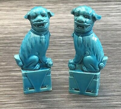 """Vintage Pair of 4..6"""" Turquoise Blue Chinese Foo Dogs Temple Figurine Statues"""