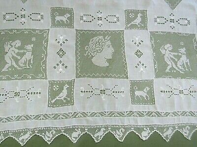 """Large Antique Figural Lace Tablecloth 45x110"""" Victorian Hand Done WHITE Banquet"""