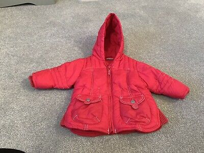 Girls Next Red Coat 6-9 Months Hooded Fleece Lined